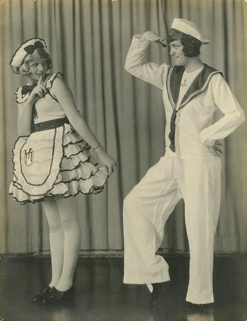 Dancers Mercia Hardy and Vera Tighe striking a pose in costume Brisbane Queensland ca 1930