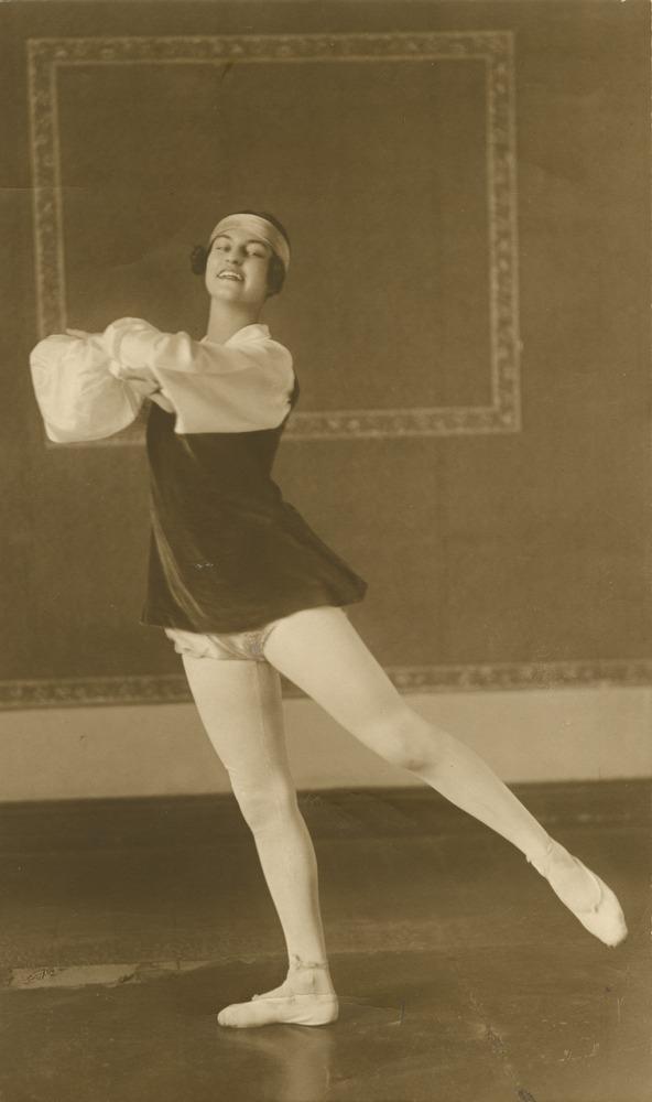Dance teacher Marjorie Hollinshed striking a pose in Centennial Hall Brisbane Queensland 1927