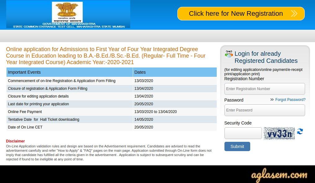 MAH B.A. B.Ed./B.Sc. B.Ed. CET 2020 Application Form