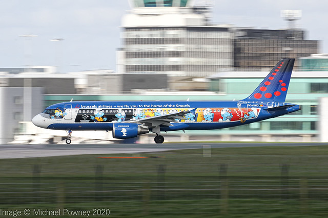 OO-SND - 2002 build Airbus A320-214, Smurf's logojet rolling for departure on Runway 23R at Manchester