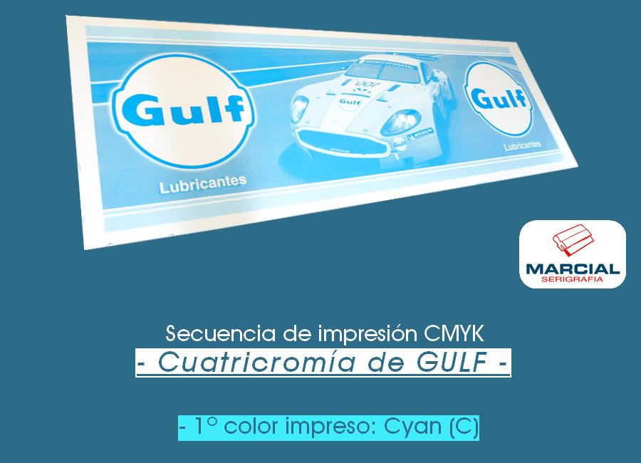 Proceso CMYK en serigrafía. Impresión del color Cyan.