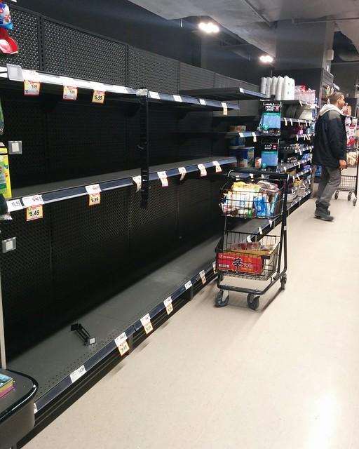 Empty shelves, Metro, College Park (5) #toronto #collegepark #metrogrocery #grocerystore #shopping #coronavirus #latergram