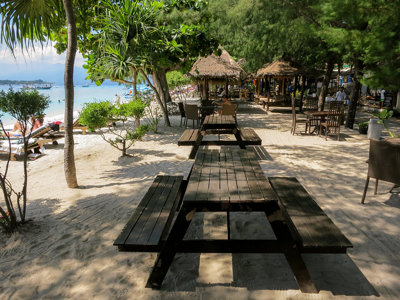 Shaded by trees busiest part of Gili T