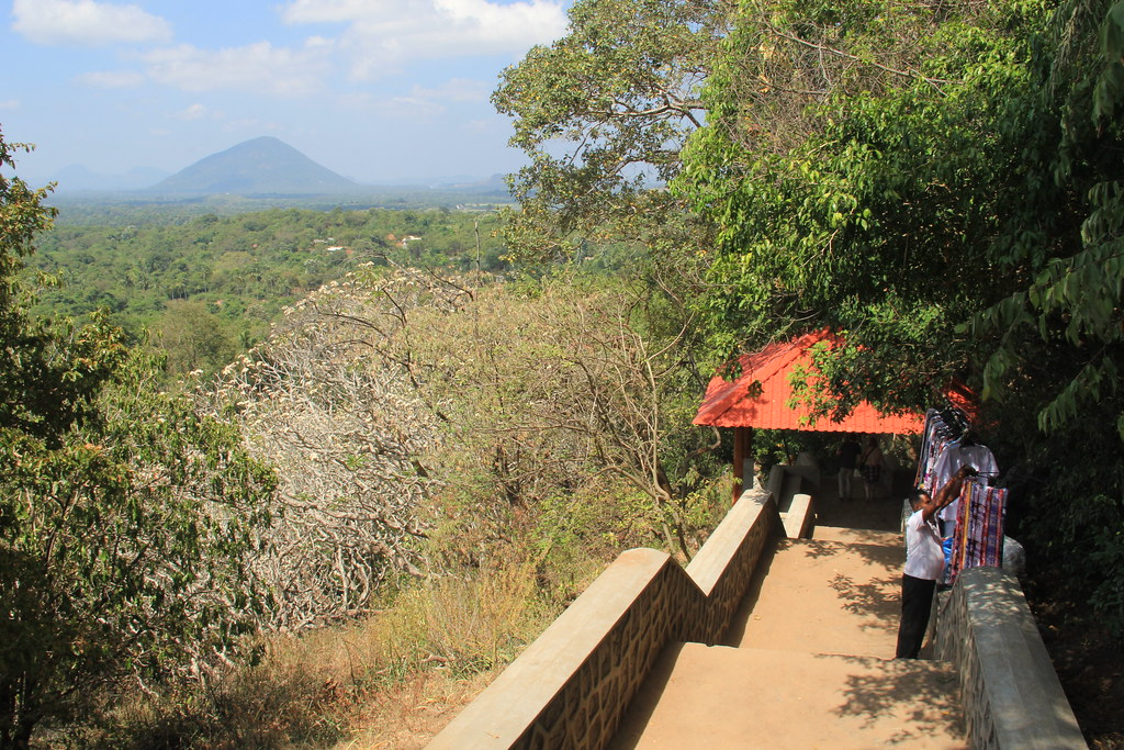 The walk up to Dambulla Cave Temple