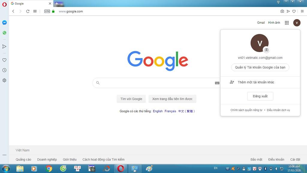 Tài khoản Gmail sau khi đã hoàn tất đăng ký