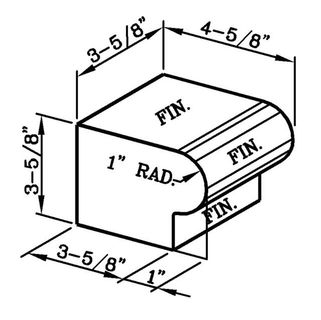 1 Inch Radius Bullnose Rowlock Modular