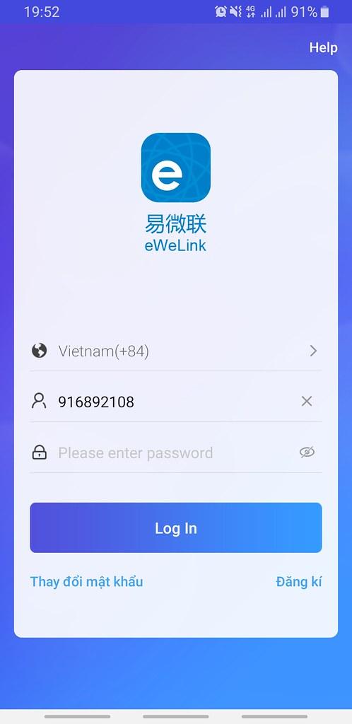 Mở ứng dụng eWelink để bắt đầu quá trình đăng ký tài khoản