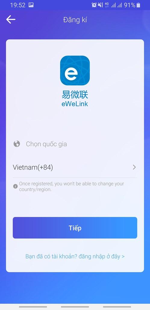 """Chọn quốc gia """"Việt Nam"""""""