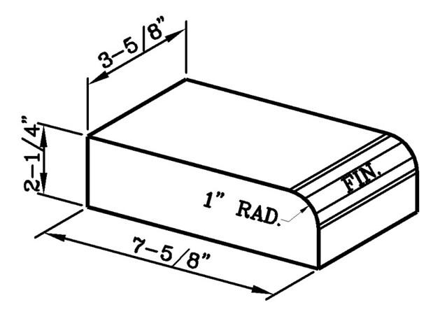 1 Inch Radius Bullnose Header Modular