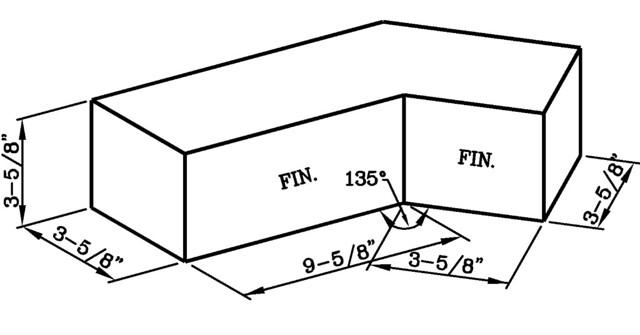 135 Degree One Half Bond Internal Corner Utility