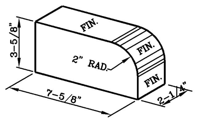 2 Inch Radius Bullnose Rowlock Modular