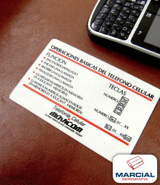 """Tarjeta plástica impresa a 2 colores en serigrafía y después laminada, para la antigua empresa de telefonía móvil """"Movicom"""". Trabajo hecho por Marcial Serigrafía."""