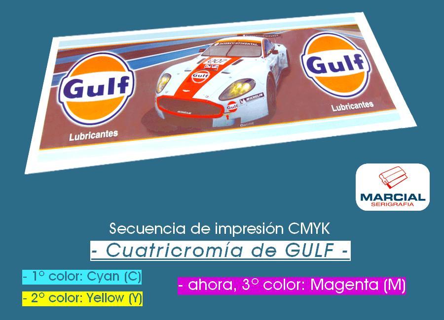 Proceso CMYK en serigrafía. Impresión del color Magenta (M).