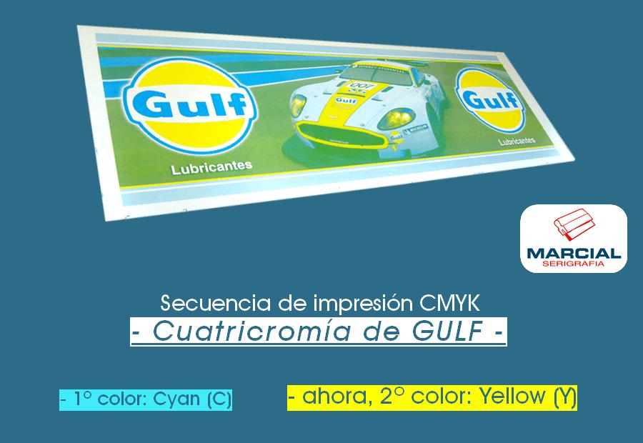 Proceso CMYK en serigrafía. Impresión del color amarillo (Yellow).