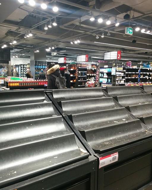 Empty shelves, Metro, College Park (1) #toronto #collegepark #metrogrocery #grocerystore #shopping #coronavirus #latergram