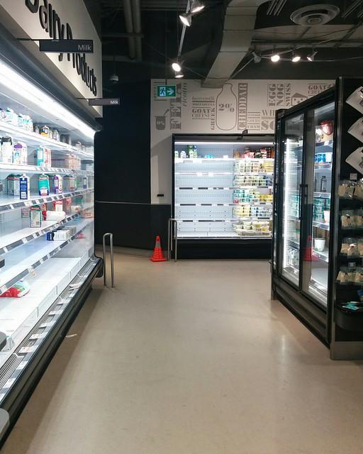 Empty shelves, Metro, College Park (3) #toronto #collegepark #metrogrocery #grocerystore #shopping #coronavirus #latergram