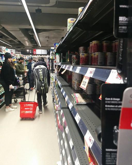 Empty shelves, Metro, College Park (9) #toronto #collegepark #metrogrocery #grocerystore #shopping #coronavirus #latergram #cans