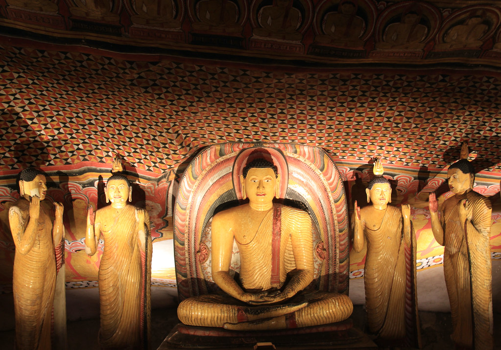 Buddha statues and ceiling frescoes, Dambulla Cave Temple