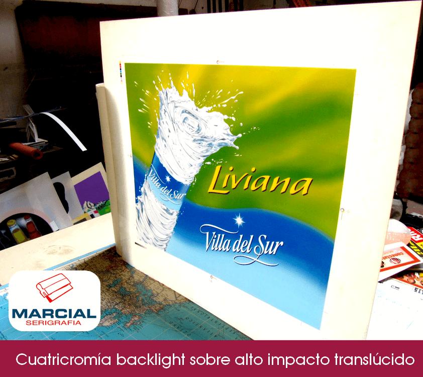 """Impresión backlight en serigrafía sobre alto impacto (pai) de la marca de Agua Mineral """"Villa del Sur"""" hecho por Marcial Serigrafia."""