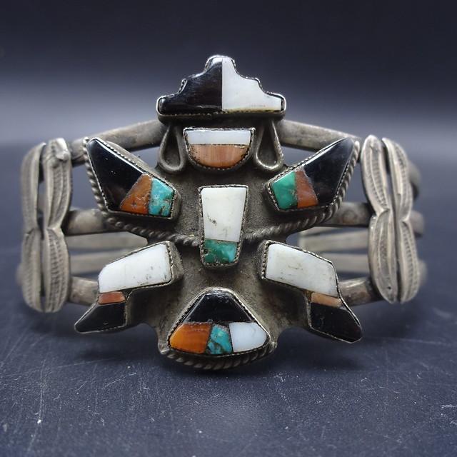 Vintage Hopi Knifewing Chip Inlay Ring Sz 8