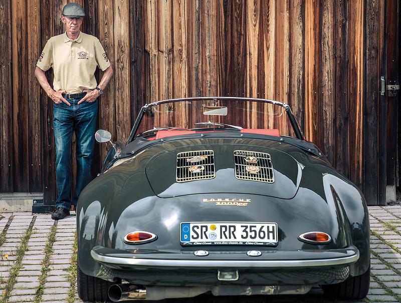 Walter Röhrl, mit seinem Porsche 356 Spezialanfertigung, durch