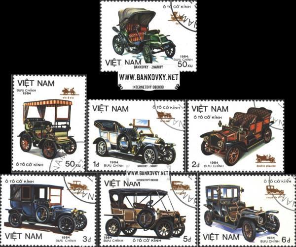 Známky Vietnam 1984 Staré automobily, razítkovaná séria