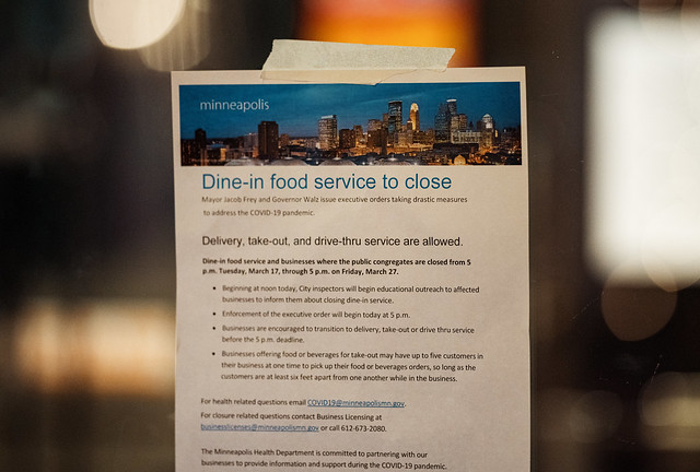 Dine-In Food Service to Close - Minneapolis COVID-19 Response
