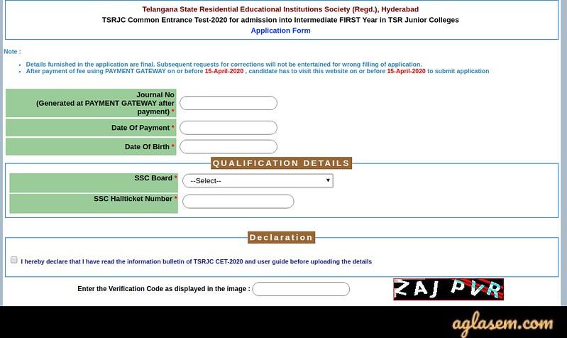 TSRJC CET 2020 Online Application Form