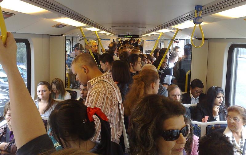 Crowded train, March 2010