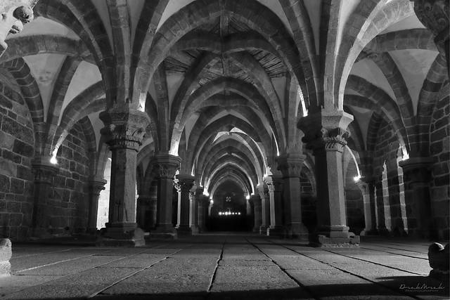 Inside the crypt (basilica st. Procopius, Třebíč) - BW