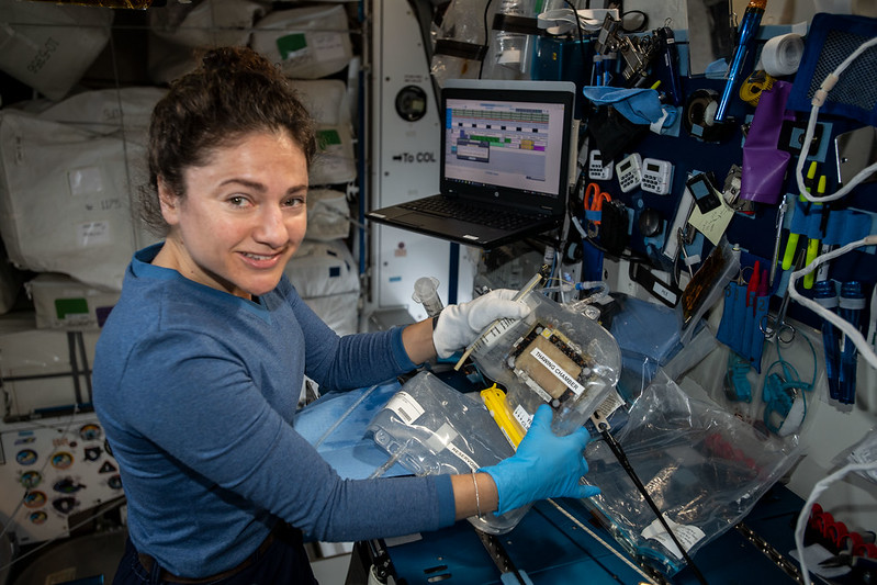 Astronaut Jessica Meir Works with Bone Research Hardware