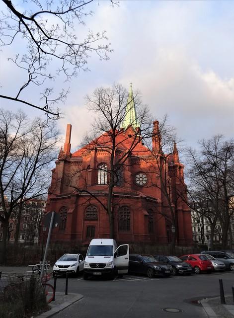 1889/93 Berlin neogotische evangelische Gethsemane-Kirche 67mH von August Orth Stargarder Straße 77 in 10437 Prenzlauer Berg