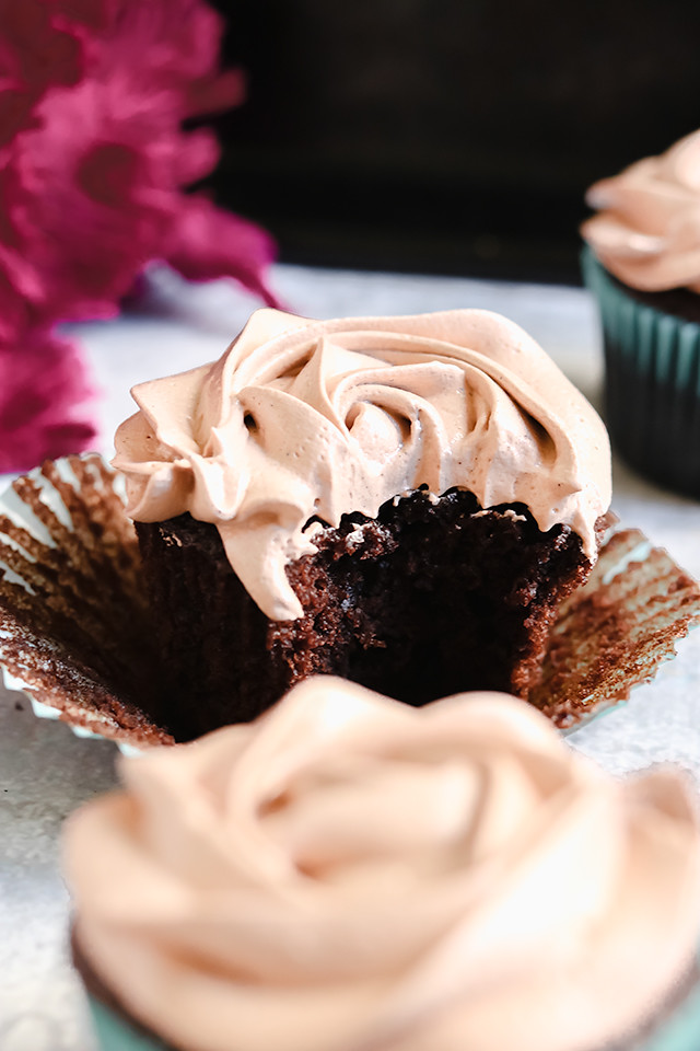 Chocolatey Chocolate Cupcakes with Chocolate Swiss Meringue Buttercream