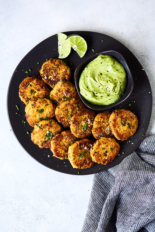 Bacon and Chive Spaghetti Squash Fritters with California Avocado Lime Dipping Sauce {gluten-free, paleo, Whole30, keto}