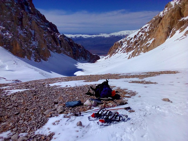 Snowshoes: that's what happens when I break a binding; relaxing lunch stop by bryandkeith on flickr