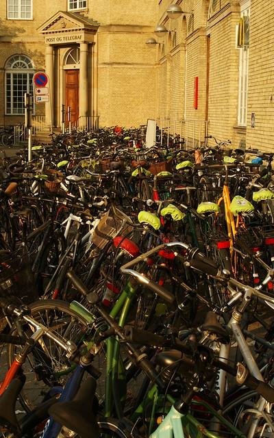 Parked bikes outside Aarhus railway station