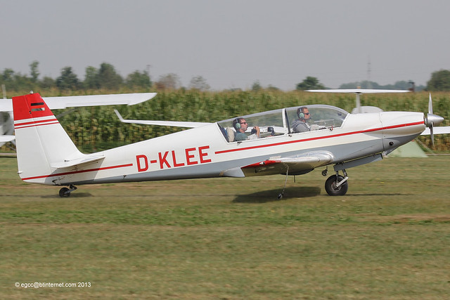 D-KLEE - 1970 build Sportavia-Putzer Fournier RF-5, arriving at Tannheim during Tannkosh 2013