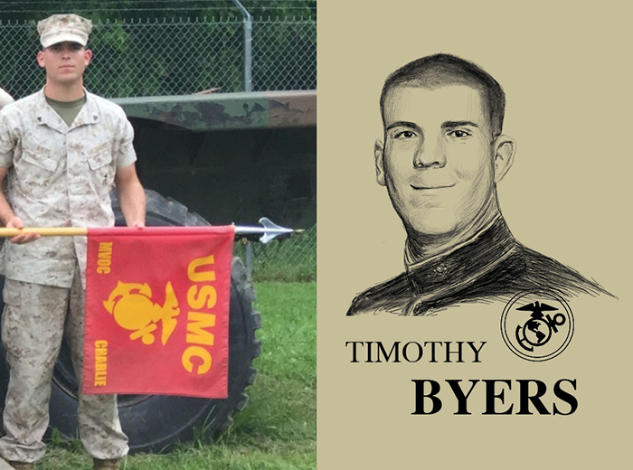 A man in a camouflage uniform holds a red and yellow United States Marine Corps flag. To the right, a pencil portrait of Timothy Byers.