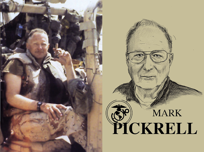 A man sitting in a military vehicle with a cigar in his hand. To the right, a pencil portrait of Mark Pickrell.
