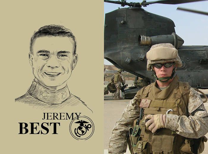 A pencil portrait of Jeremy Best. To the right, a man in military gear stands in front of a military helicopter.