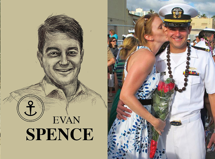 A pencil portrait of Evan Spence. To the right, a woman in a dress holding a bouquet kisses a man in a white uniform on the cheek.