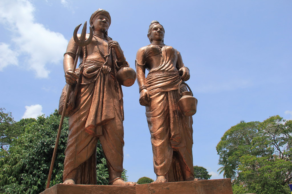 Princess Hemamali and her husband, Prince Dantha, the grounds of Kandy's Temple of the Sacred Tooth