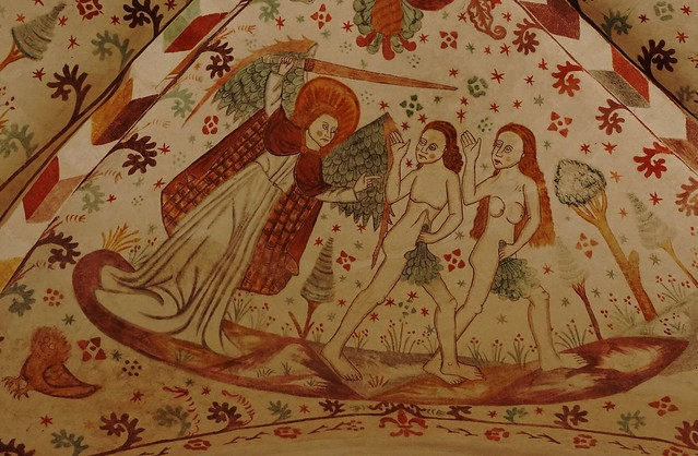The Expulsion from Paradise - Frescoes in Fanefjord Church - around 1500