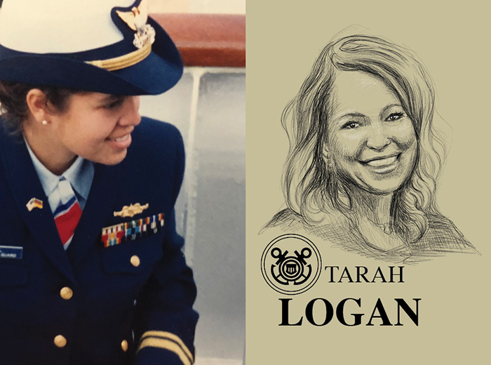 A bird's eye view portrait of a woman in a navy-colored uniform. To the right, a pencil portrait of Tarah Logan.