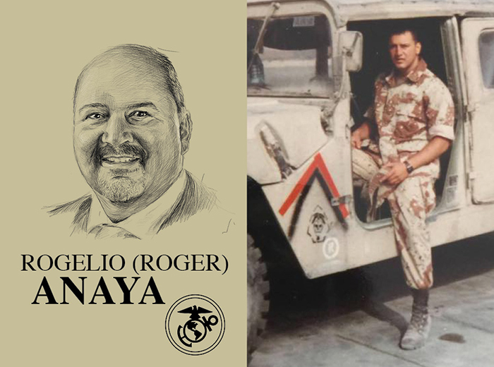 A pencil portrait of Rogelio (Roger) Anaya. To the right, a man sits in a military vehicle.