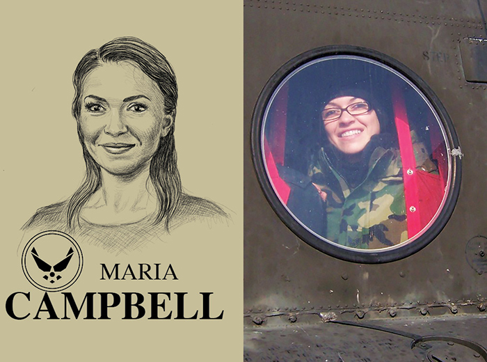 A pencil portrait of Maria Campbell. To the right, a woman in camouflage looks out the circular window of a helicopter.