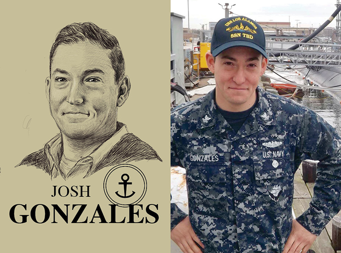 A pencil portrait of Josh Gonzales. To the right, a man in a U.S. Navy uniform stands on a dock in front of a ship.