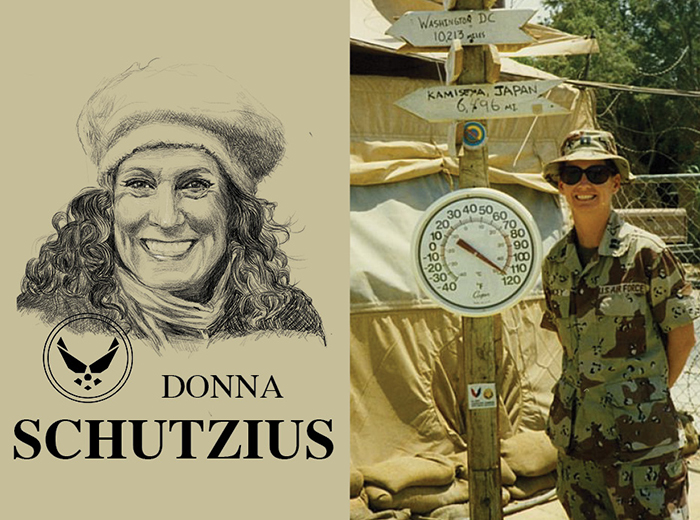 A pencil portrait of Donna Schutzius. To the right, a woman in camouflage stands next to a circular thermometer that is reaching towards the 120 degrees Fahrenheit mark.