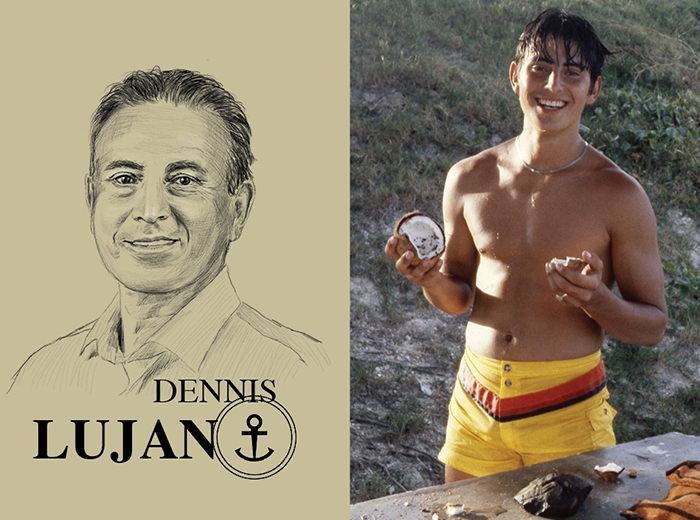A pencil portrait of Dennis Lujan. To the right, a man in swim trunks holds pieces of a coconut in each hand.