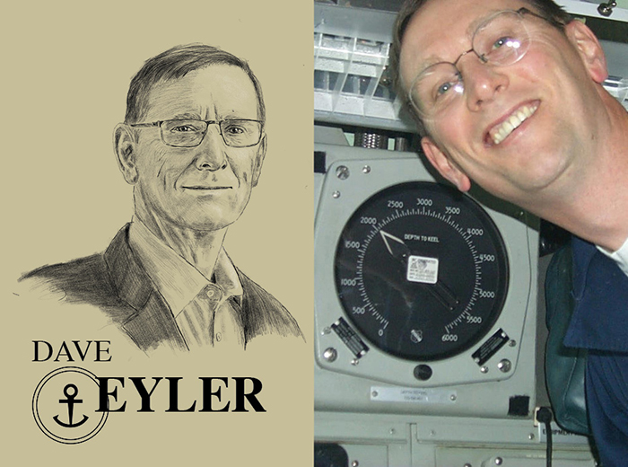 A pencil portrait of Dave Eyler. To the right, a man poses for a photo next to an altimeter on a submarine that clocks in at 2,000 feet below sea level.